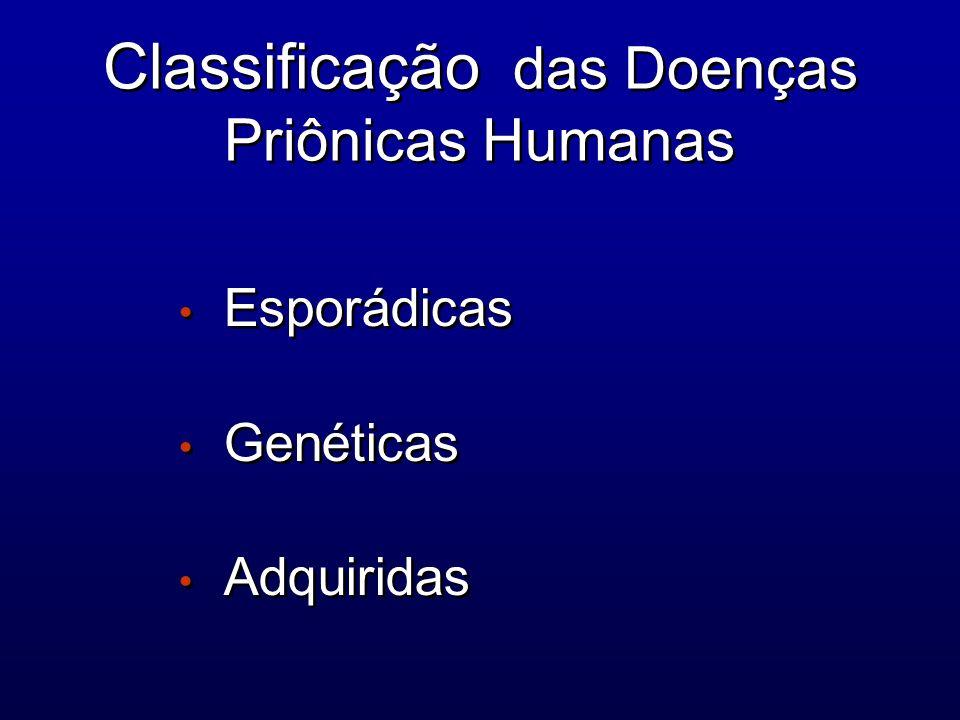 Classificação das Doenças Priônicas Humanas Esporádicas Genéticas Adquiridas Esporádicas Genéticas Adquiridas