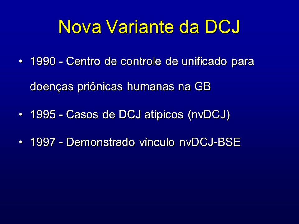Nova Variante da DCJ 1990 - Centro de controle de unificado para doenças priônicas humanas na GB 1995 - Casos de DCJ atípicos (nvDCJ) 1997 - Demonstra