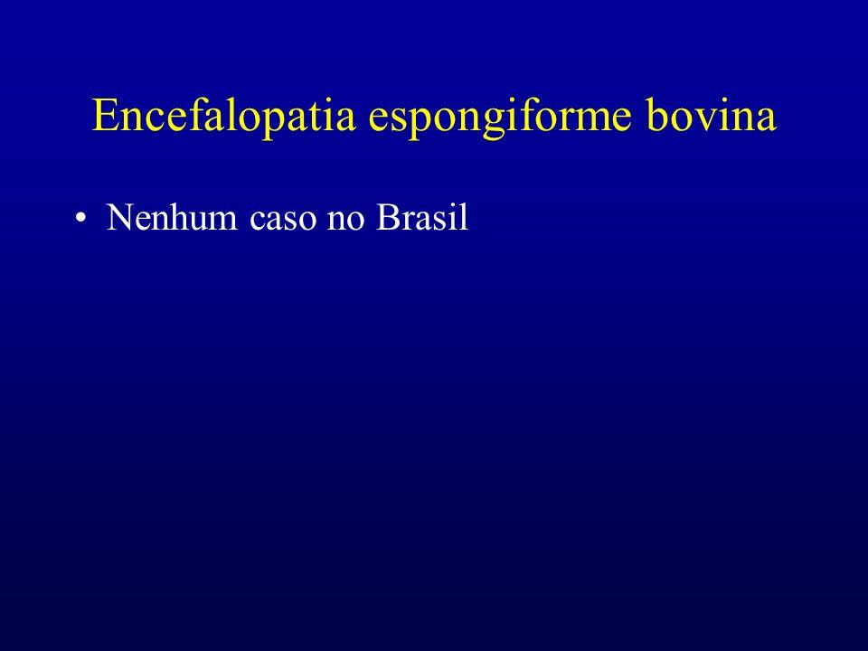Encefalopatia espongiforme bovina Nenhum caso no Brasil