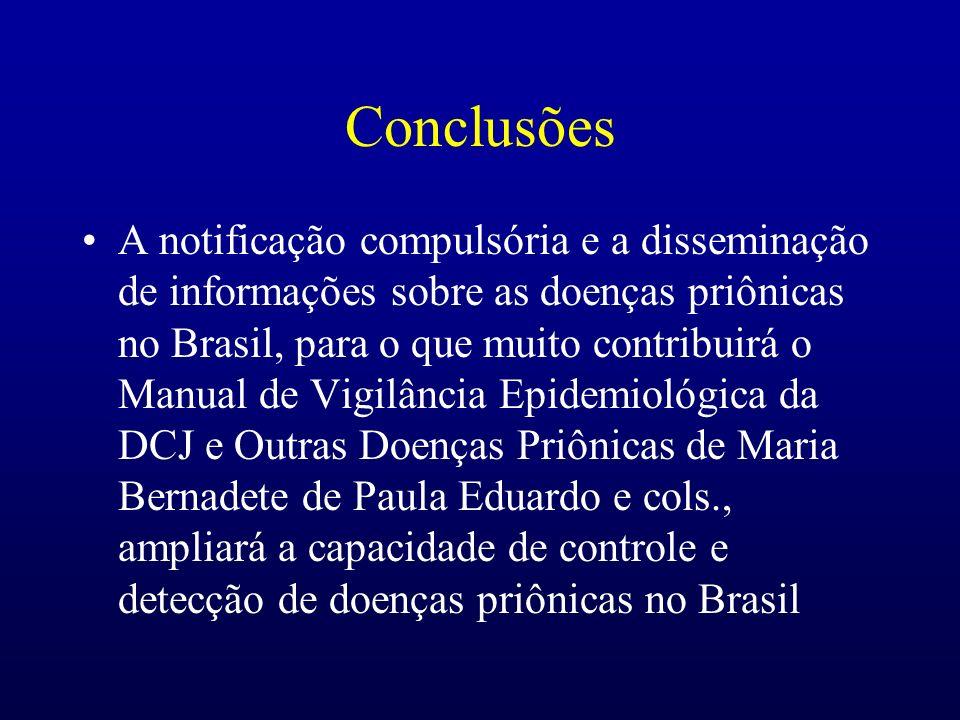 Conclusões A notificação compulsória e a disseminação de informações sobre as doenças priônicas no Brasil, para o que muito contribuirá o Manual de Vi