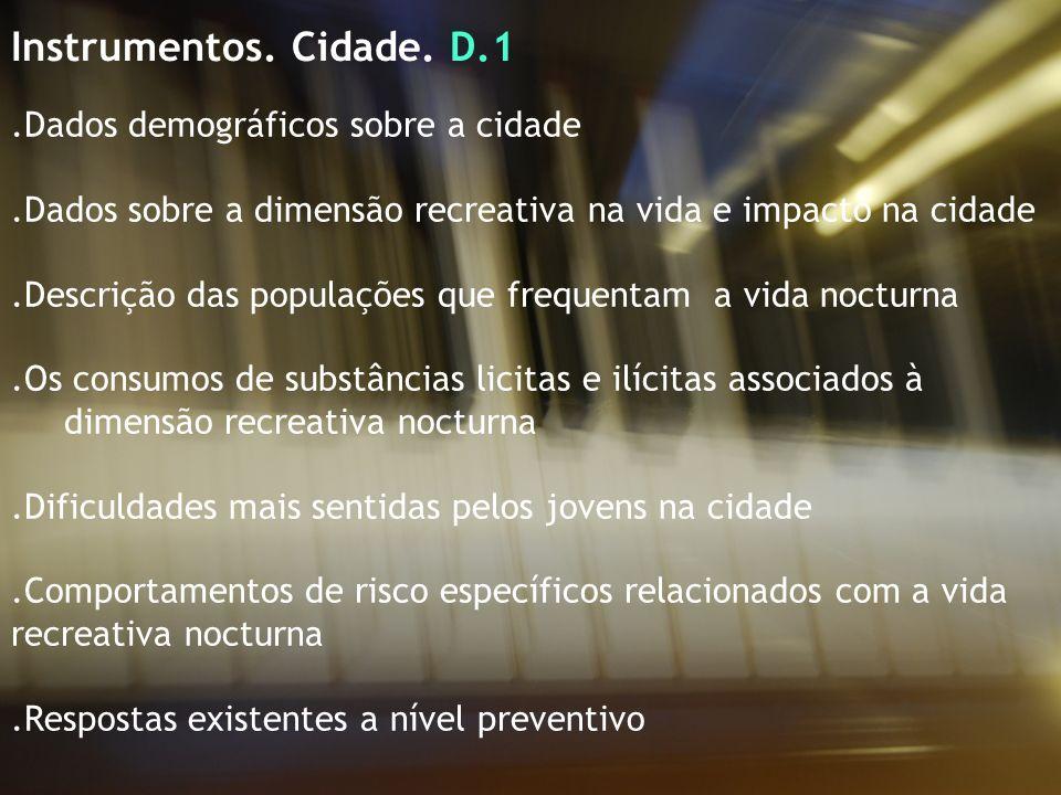 Instrumentos. Cidade. D.1.Dados demográficos sobre a cidade.Dados sobre a dimensão recreativa na vida e impacto na cidade.Descrição das populações que