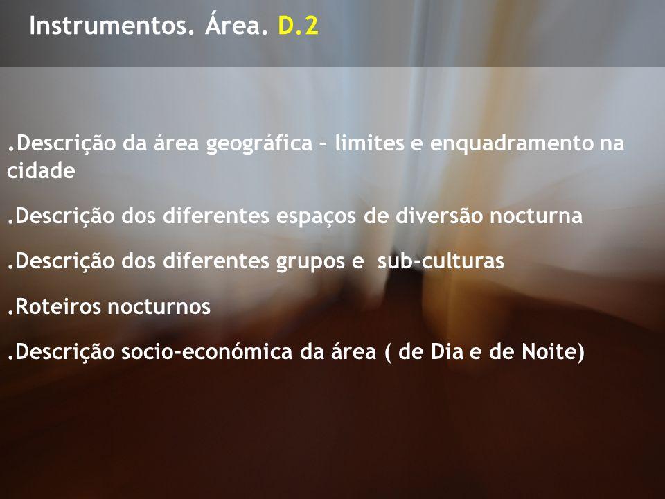 Instrumentos. Área. D.2. Descrição da área geográfica – limites e enquadramento na cidade.Descrição dos diferentes espaços de diversão nocturna.Descri