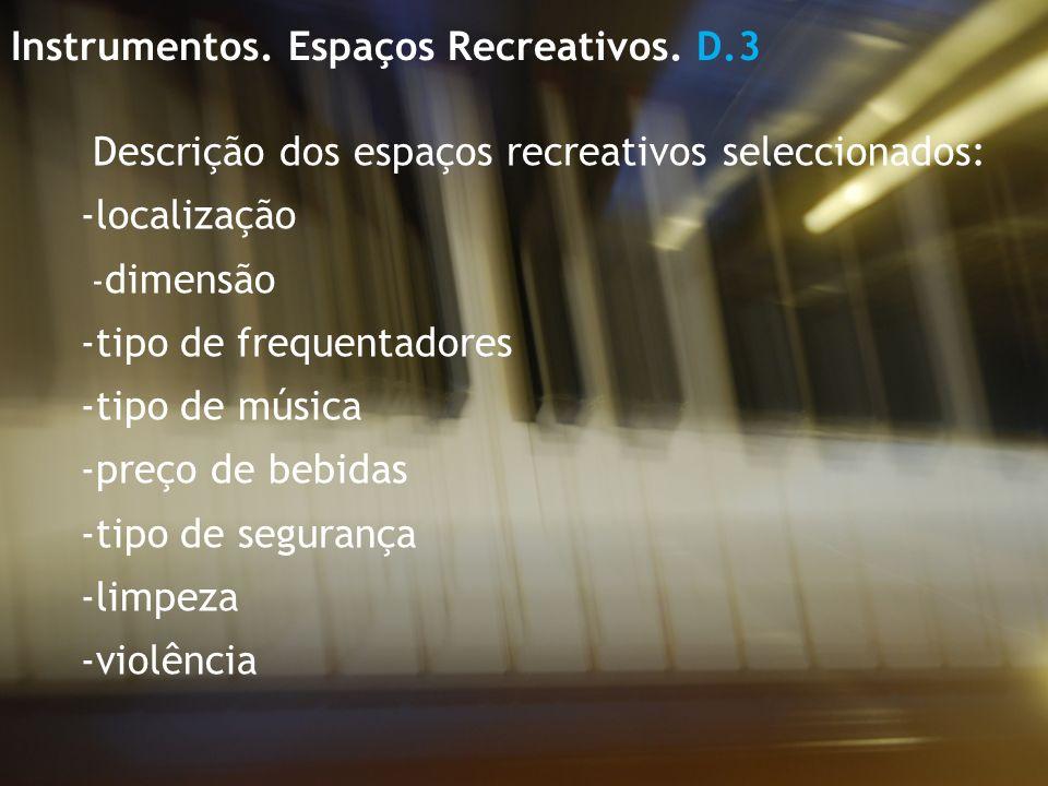 Descrição dos espaços recreativos seleccionados: -localização - dimensão -tipo de frequentadores -tipo de música -preço de bebidas -tipo de segurança