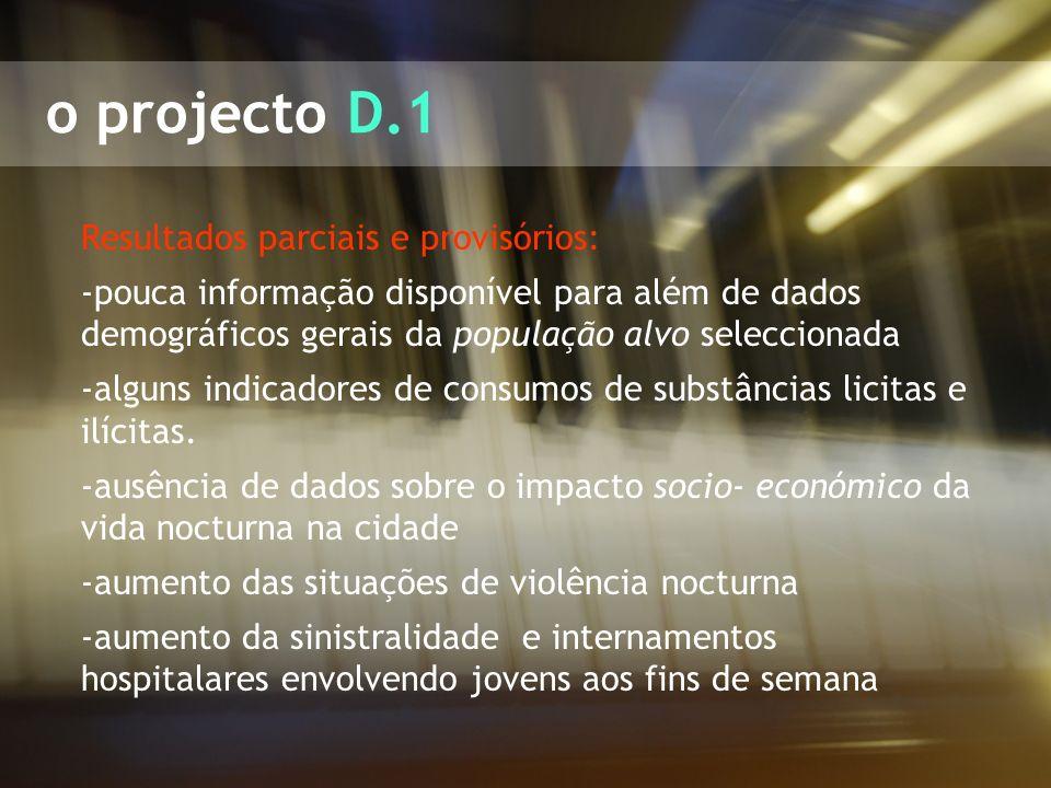 o projecto D.1 Resultados parciais e provisórios: -pouca informação disponível para além de dados demográficos gerais da população alvo seleccionada -
