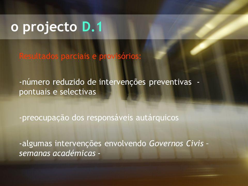 o projecto D.1 Resultados parciais e provisórios: -número reduzido de intervenções preventivas - pontuais e selectivas -preocupação dos responsáveis a