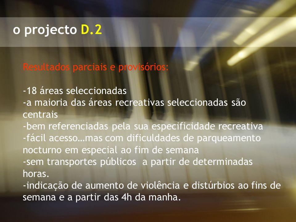 o projecto D.2 Resultados parciais e provisórios: -18 áreas seleccionadas -a maioria das áreas recreativas seleccionadas são centrais -bem referenciad