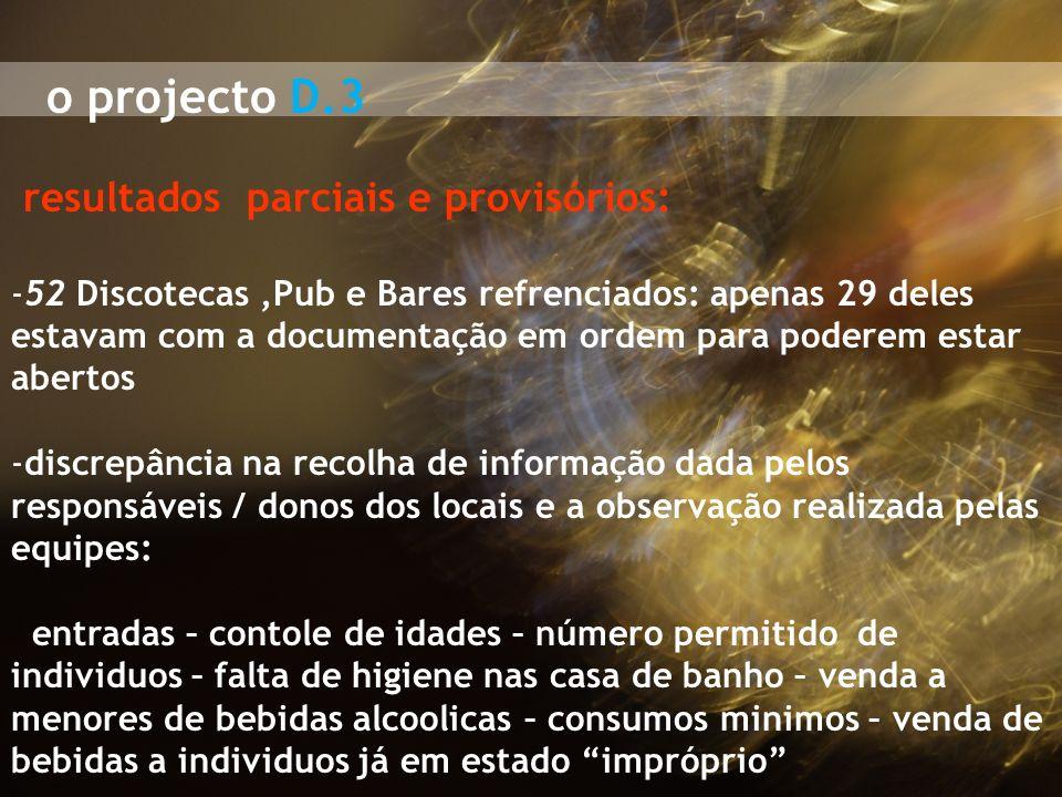 o projecto D.3 resultados parciais e provisórios: -52 Discotecas,Pub e Bares refrenciados: apenas 29 deles estavam com a documentação em ordem para po