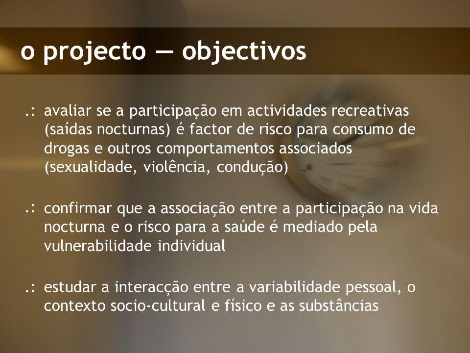 o projecto objectivos conhecer as melhores medidas de prevenção associadas ao contexto recreativo..: produzir informação para diagnosticar as áreas de lazer, nas cidades ou arredores (substâncias e clientes).: diagnosticar e avaliar em que fase está cada cidade.