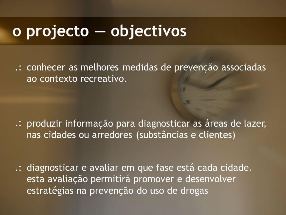 o projecto objectivos conhecer as melhores medidas de prevenção associadas ao contexto recreativo..: produzir informação para diagnosticar as áreas de