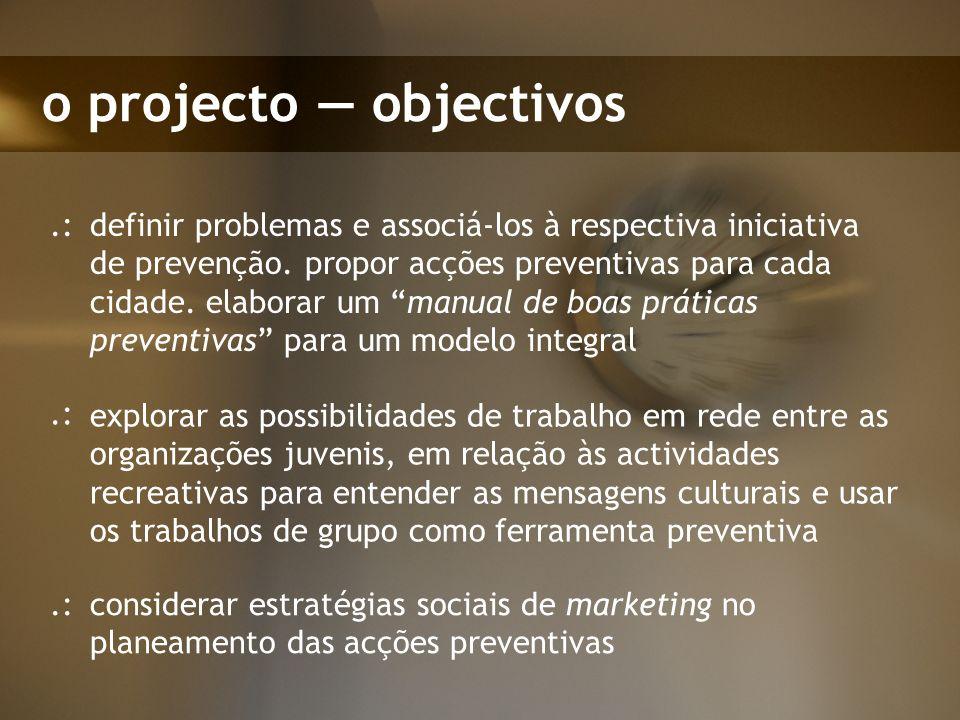 o projecto objectivos definir problemas e associá-los à respectiva iniciativa de prevenção. propor acções preventivas para cada cidade. elaborar um ma