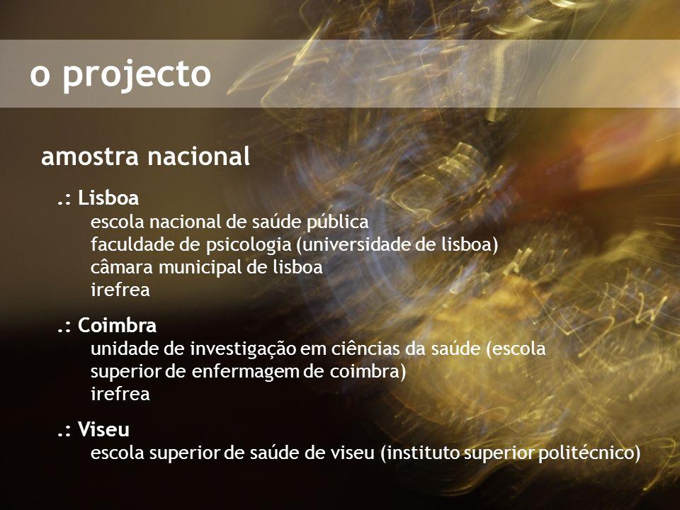 o projecto amostra nacional.: Lisboa escola nacional de saúde pública faculdade de psicologia (universidade de lisboa) câmara municipal de lisboa iref