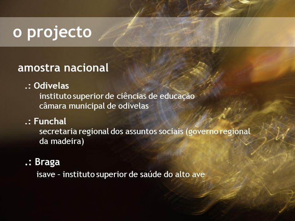 o projecto amostra nacional.: Odivelas instituto superior de ciências de educação câmara municipal de odivelas.: Funchal secretaria regional dos assun