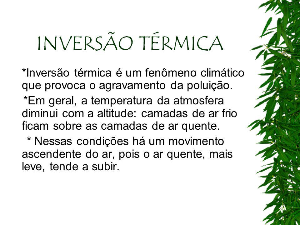 INVERSÃO TÉRMICA *Inversão térmica é um fenômeno climático que provoca o agravamento da poluição. *Em geral, a temperatura da atmosfera diminui com a