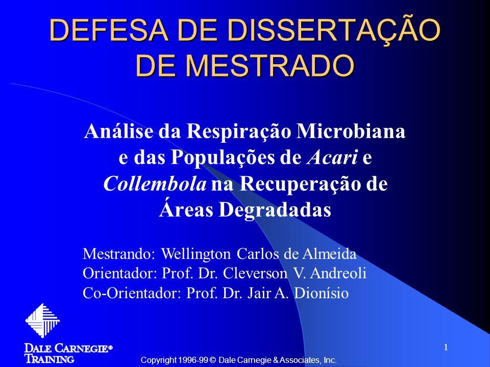 1 DEFESA DE DISSERTAÇÃO DE MESTRADO Análise da Respiração Microbiana e das Populações de Acari e Collembola na Recuperação de Áreas Degradadas Copyrig