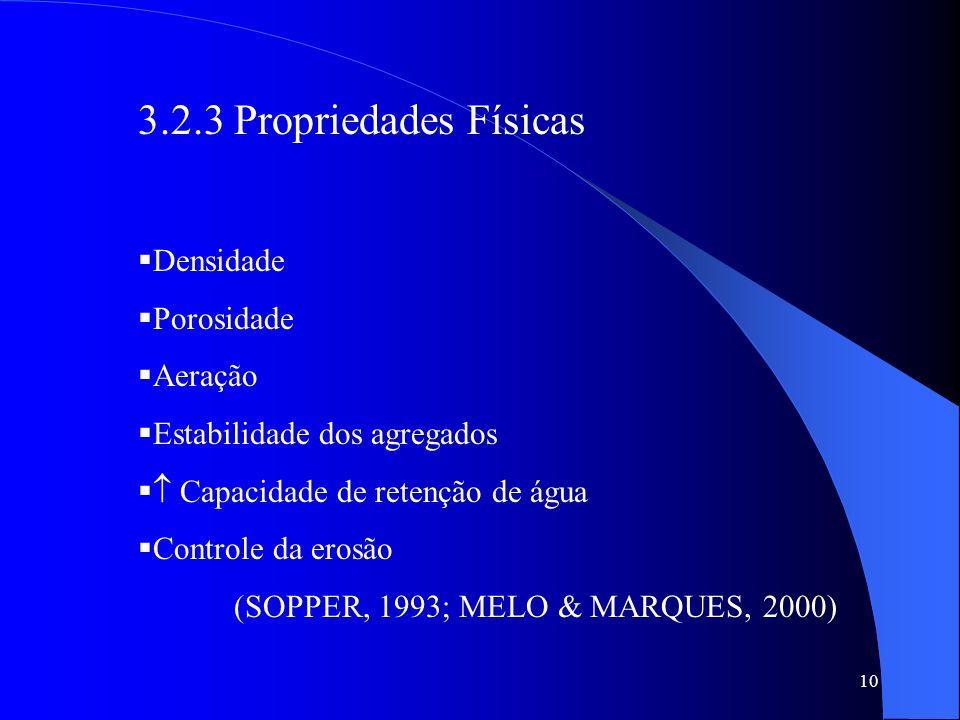 10 3.2.3 Propriedades Físicas Densidade Porosidade Aeração Estabilidade dos agregados Capacidade de retenção de água Controle da erosão (SOPPER, 1993;