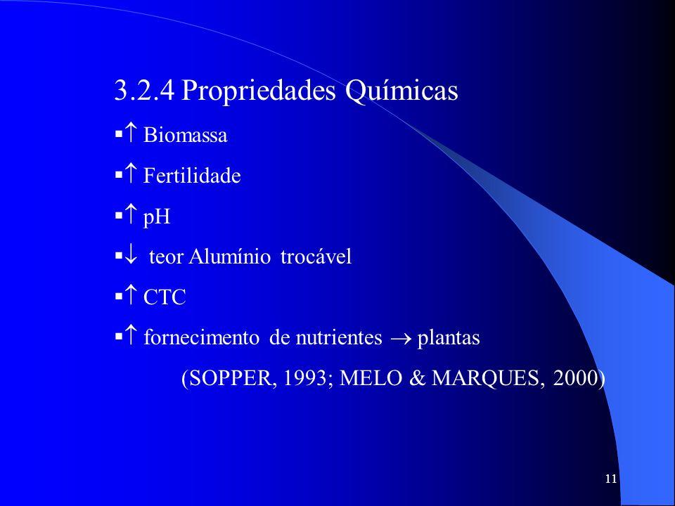 11 3.2.4 Propriedades Químicas Biomassa Fertilidade pH teor Alumínio trocável CTC fornecimento de nutrientes plantas (SOPPER, 1993; MELO & MARQUES, 20