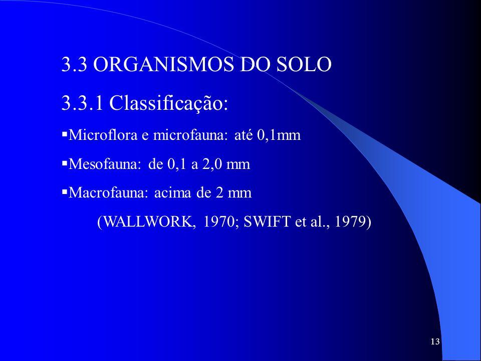 13 3.3 ORGANISMOS DO SOLO 3.3.1 Classificação: Microflora e microfauna: até 0,1mm Mesofauna: de 0,1 a 2,0 mm Macrofauna: acima de 2 mm (WALLWORK, 1970