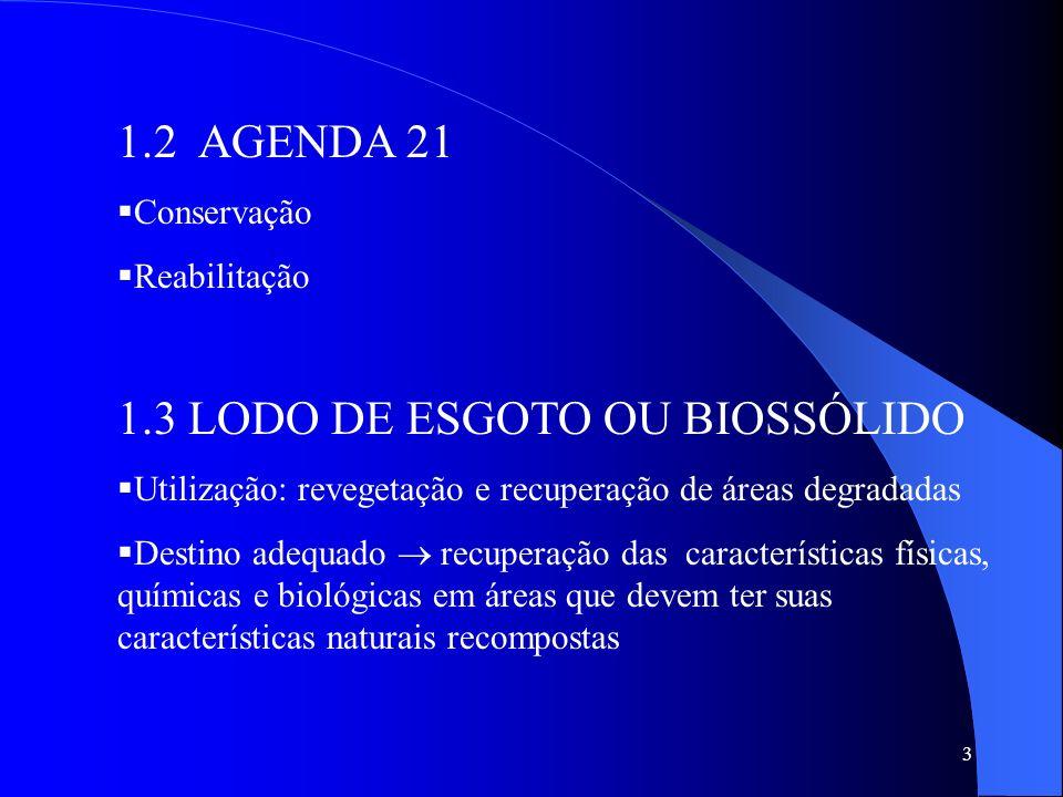 3 1.2 AGENDA 21 Conservação Reabilitação 1.3 LODO DE ESGOTO OU BIOSSÓLIDO Utilização: revegetação e recuperação de áreas degradadas Destino adequado r