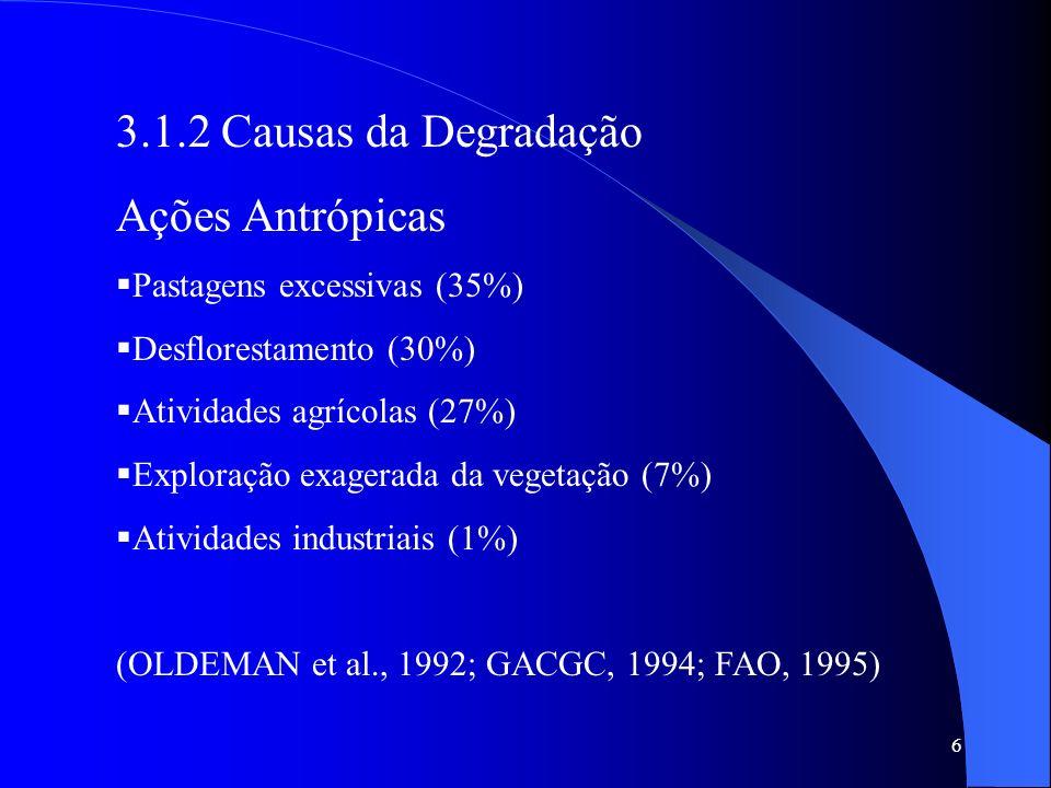 6 3.1.2 Causas da Degradação Ações Antrópicas Pastagens excessivas (35%) Desflorestamento (30%) Atividades agrícolas (27%) Exploração exagerada da veg