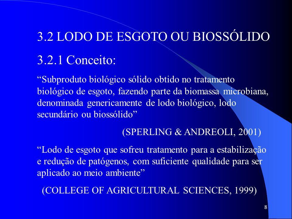 8 3.2 LODO DE ESGOTO OU BIOSSÓLIDO 3.2.1 Conceito: Subproduto biológico sólido obtido no tratamento biológico de esgoto, fazendo parte da biomassa mic