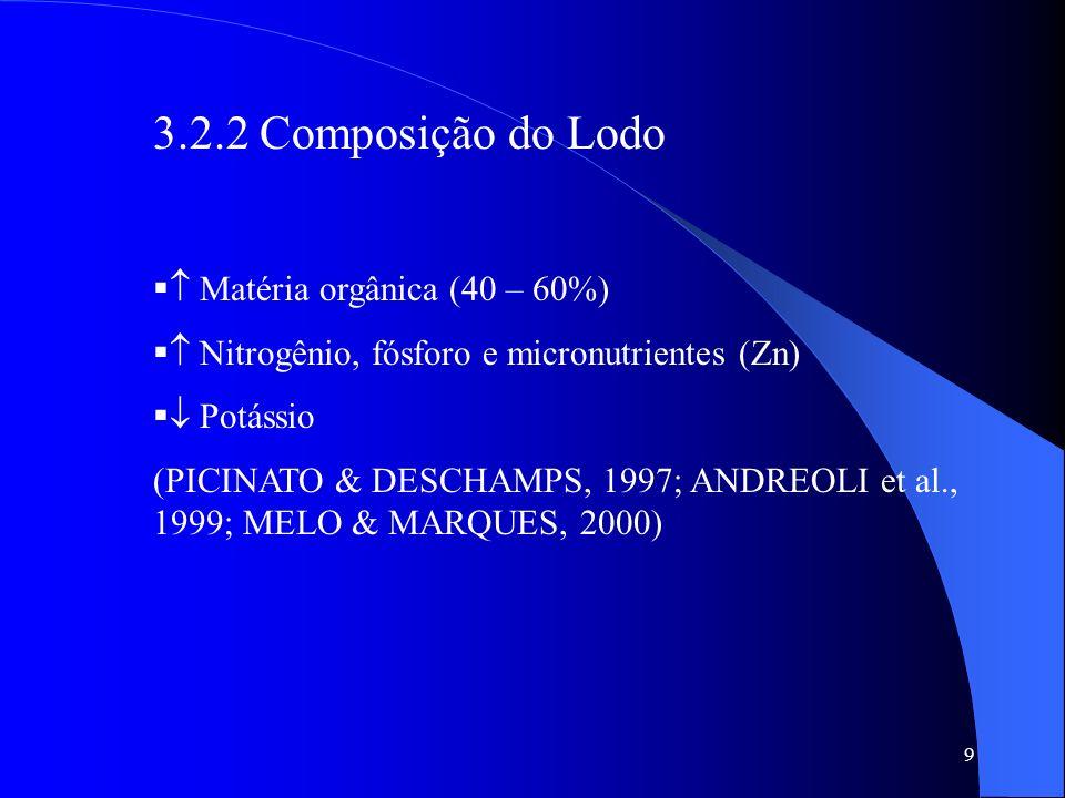 9 3.2.2 Composição do Lodo Matéria orgânica (40 – 60%) Nitrogênio, fósforo e micronutrientes (Zn) Potássio (PICINATO & DESCHAMPS, 1997; ANDREOLI et al
