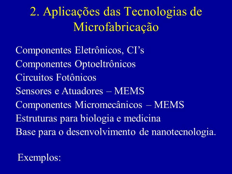 2. Aplicações das Tecnologias de Microfabricação Componentes Eletrônicos, CIs Componentes Optoeltrônicos Circuitos Fotônicos Sensores e Atuadores – ME