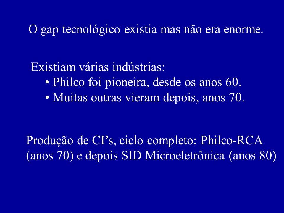 O gap tecnológico existia mas não era enorme. Existiam várias indústrias: Philco foi pioneira, desde os anos 60. Muitas outras vieram depois, anos 70.
