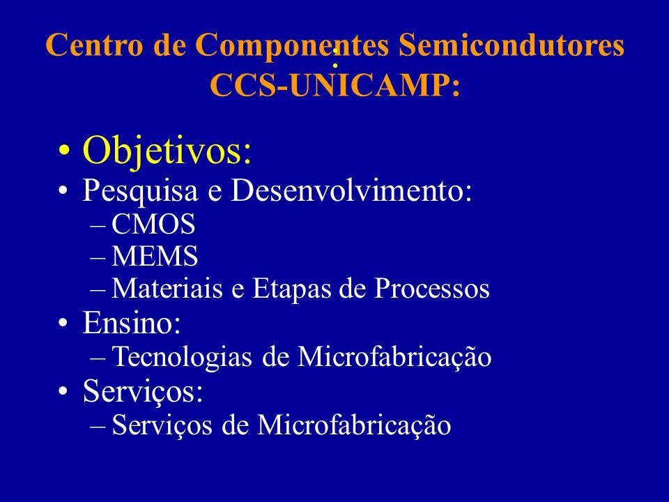Centro de Componentes Semicondutores CCS-UNICAMP: : Objetivos: Pesquisa e Desenvolvimento: –CMOS –MEMS –Materiais e Etapas de Processos Ensino: –Tecno