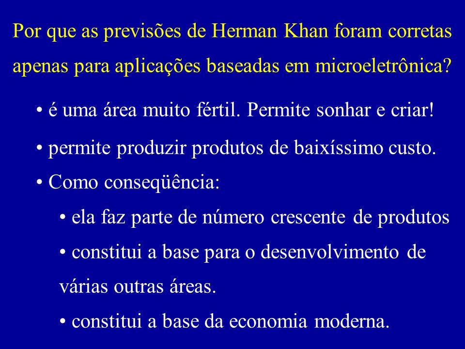 Por que as previsões de Herman Khan foram corretas apenas para aplicações baseadas em microeletrônica? é uma área muito fértil. Permite sonhar e criar