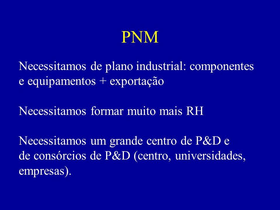 PNM Necessitamos de plano industrial: componentes e equipamentos + exportação Necessitamos formar muito mais RH Necessitamos um grande centro de P&D e