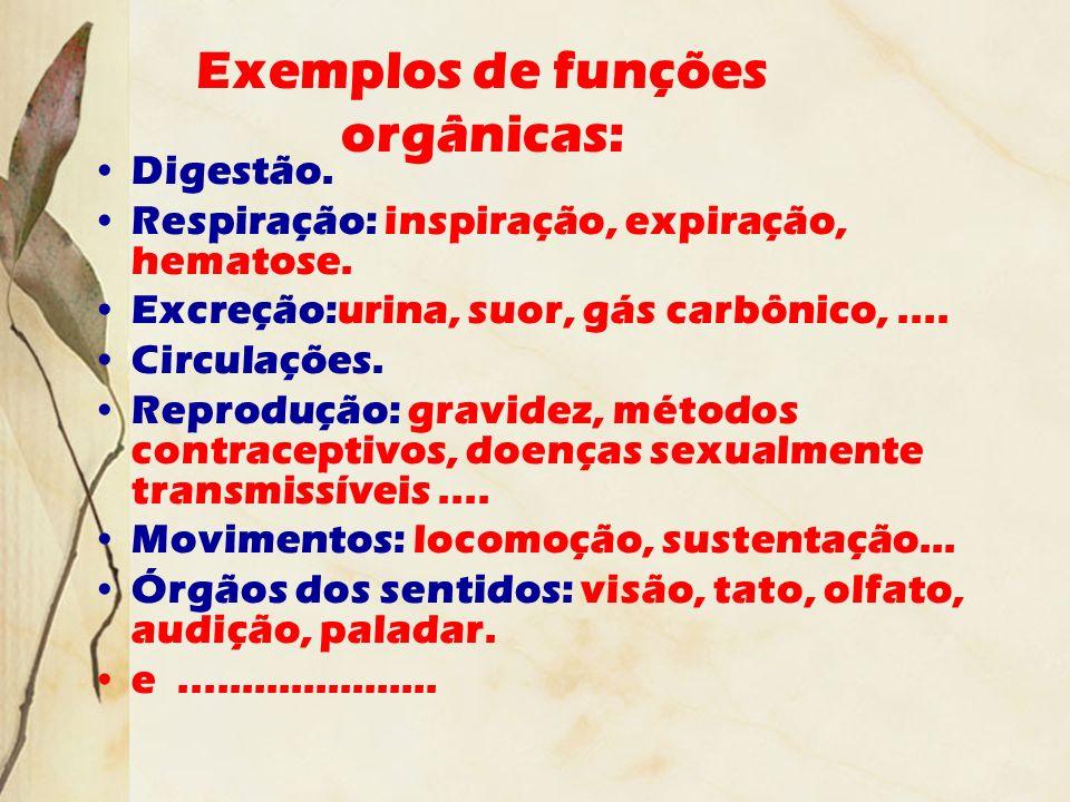 Exemplos de funções orgânicas: Digestão. Respiração: inspiração, expiração, hematose. Excreção:urina, suor, gás carbônico,.... Circulações. Reprodução