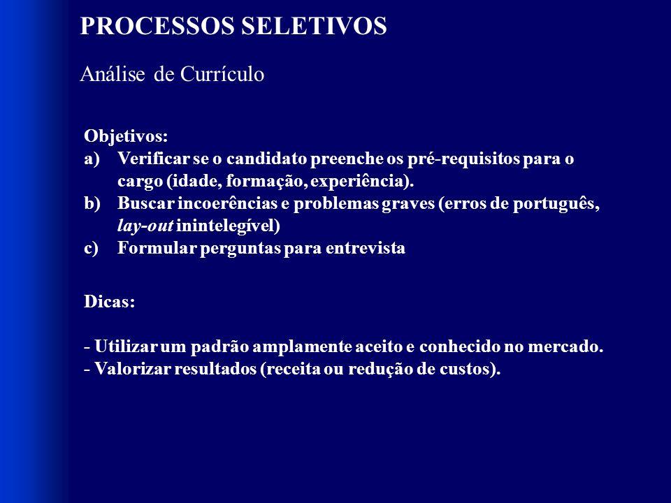 PROCESSOS SELETIVOS Composição 1. Análise de Currículo 2. Testes 3. Dinâmicas de Grupo 4. Entrevista RH 5. Entrevista Gestor