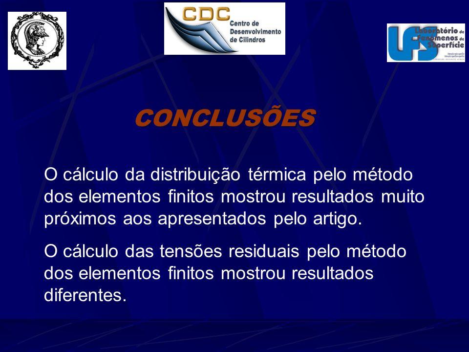 CONCLUSÕES O cálculo da distribuição térmica pelo método dos elementos finitos mostrou resultados muito próximos aos apresentados pelo artigo.