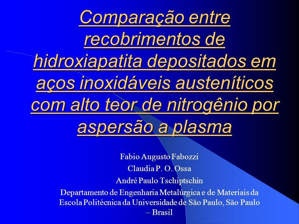 Comparação entre recobrimentos de hidroxiapatita depositados em aços inoxidáveis austeníticos com alto teor de nitrogênio por aspersão a plasma Fabio Augusto Fabozzi Claudia P.