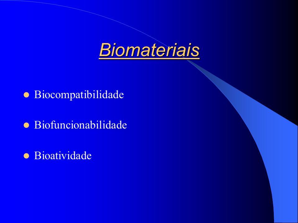 Biomateriais Biocompatibilidade Biofuncionabilidade Bioatividade