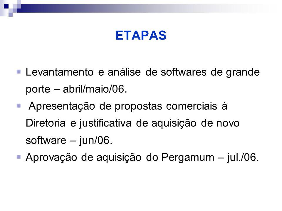 ETAPAS Levantamento e análise de softwares de grande porte – abril/maio/06. Apresentação de propostas comerciais à Diretoria e justificativa de aquisi