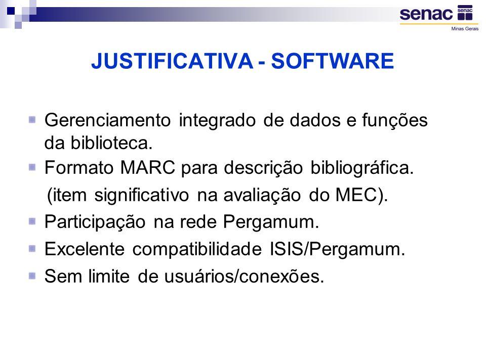 Módulos integrados.(aquisição/catalogação/circulação) Relatórios e estatísticas diversas.
