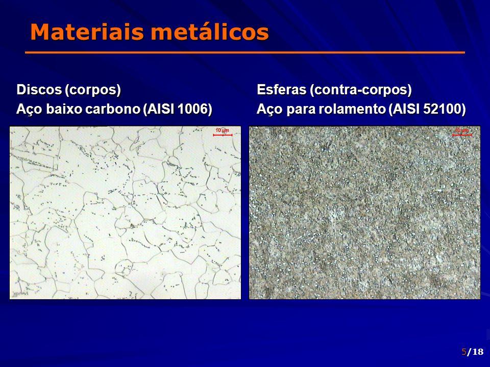 5/18 Materiais metálicos Discos (corpos) Aço baixo carbono (AISI 1006) Esferas (contra-corpos) Aço para rolamento (AISI 52100)