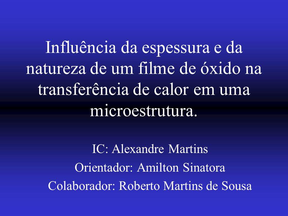 Influência da espessura e da natureza de um filme de óxido na transferência de calor em uma microestrutura.