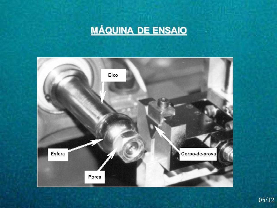 Corpo-de-prova Eixo Esfera Porca MÁQUINA DE ENSAIO 05/12
