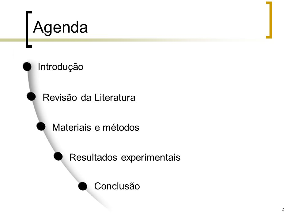 22 Agenda Introdução Revisão da Literatura Materiais e métodos Conclusão Resultados experimentais