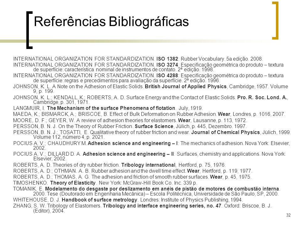 32 Referências Bibliográficas INTERNATIONAL ORGANIZATION FOR STANDARDIZATION. ISO 1382: Rubber Vocabulary. 5a edição. 2008. INTERNATIONAL ORGANIZATION
