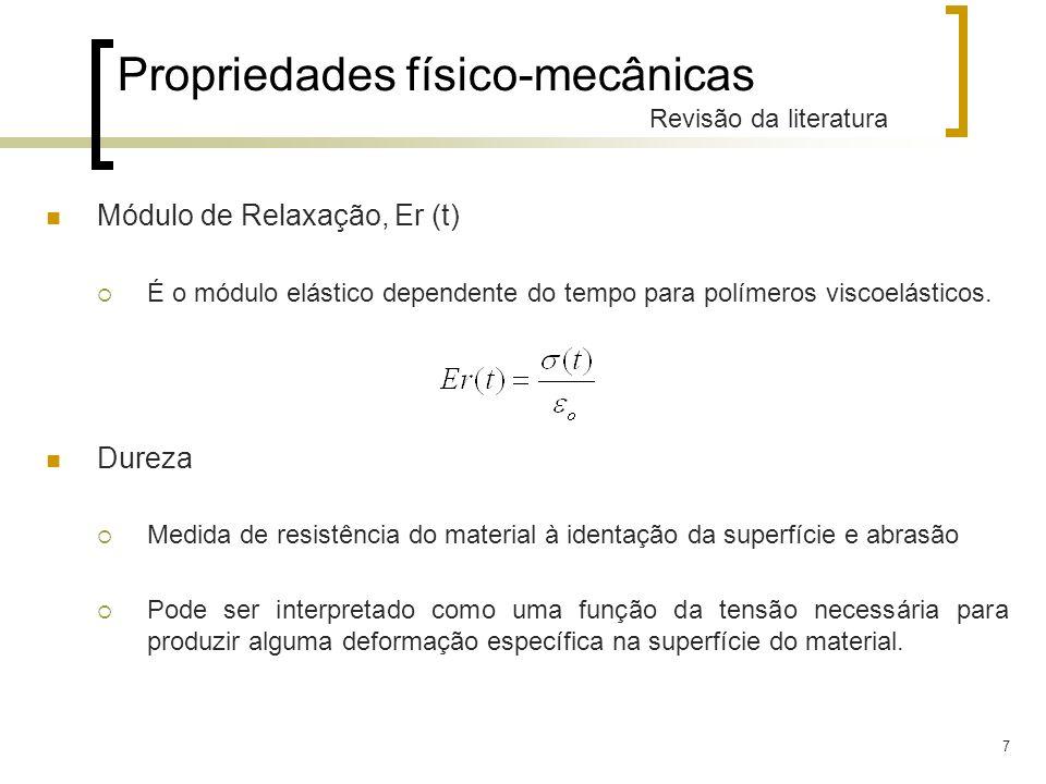 7 Propriedades físico-mecânicas Revisão da literatura Módulo de Relaxação, Er (t) É o módulo elástico dependente do tempo para polímeros viscoelástico