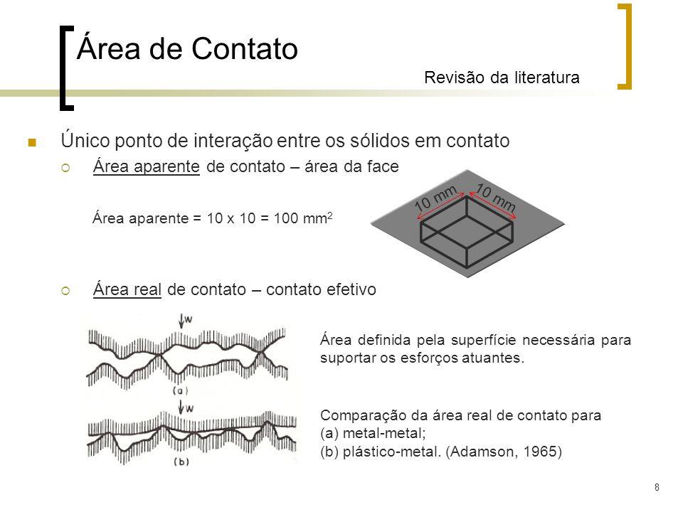 8 Único ponto de interação entre os sólidos em contato Área aparente de contato – área da face Área real de contato – contato efetivo Área de Contato