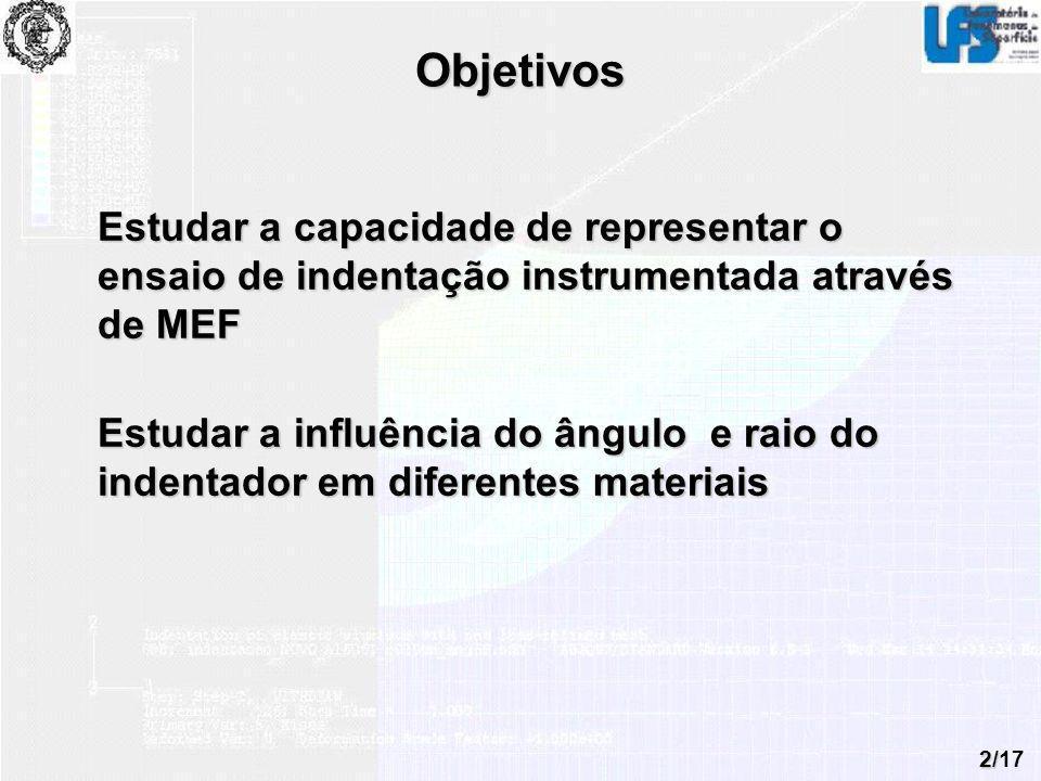 2/17 Objetivos Estudar a capacidade de representar o ensaio de indentação instrumentada através de MEF Estudar a influência do ângulo e raio do indent