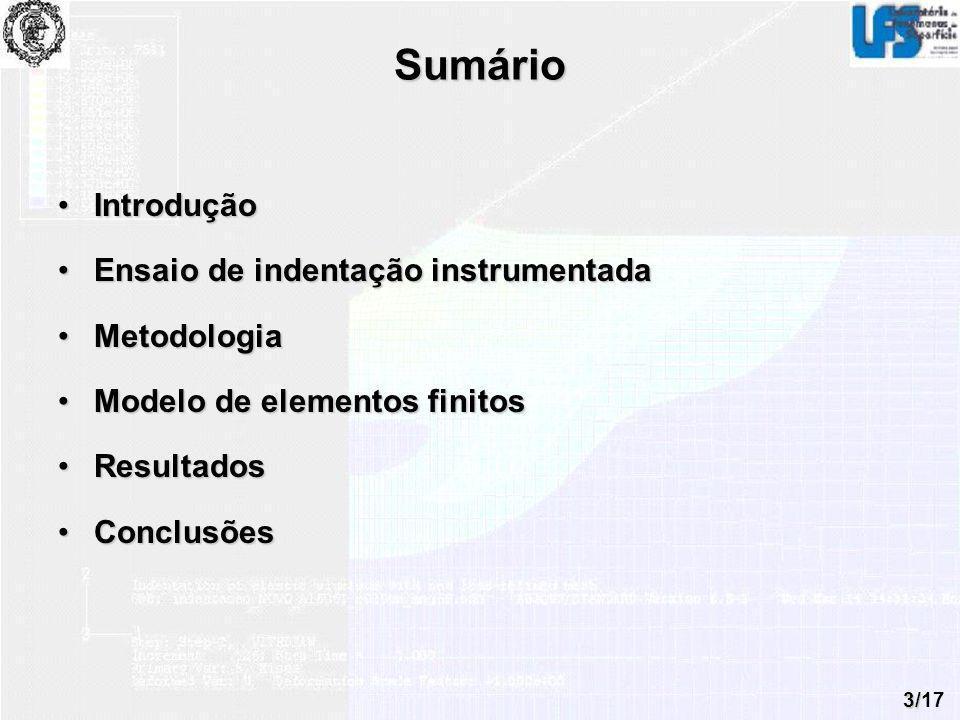 3/17 Sumário IntroduçãoIntrodução Ensaio de indentação instrumentadaEnsaio de indentação instrumentada MetodologiaMetodologia Modelo de elementos fini