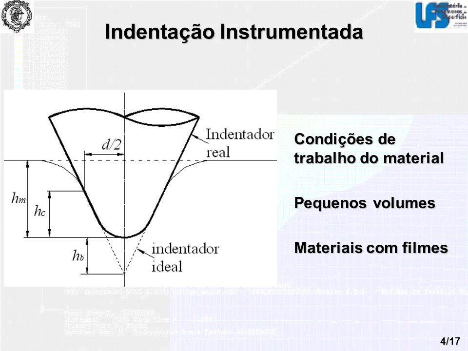 4/17 Indentação Instrumentada Condições de trabalho do material Pequenos volumes Materiais com filmes