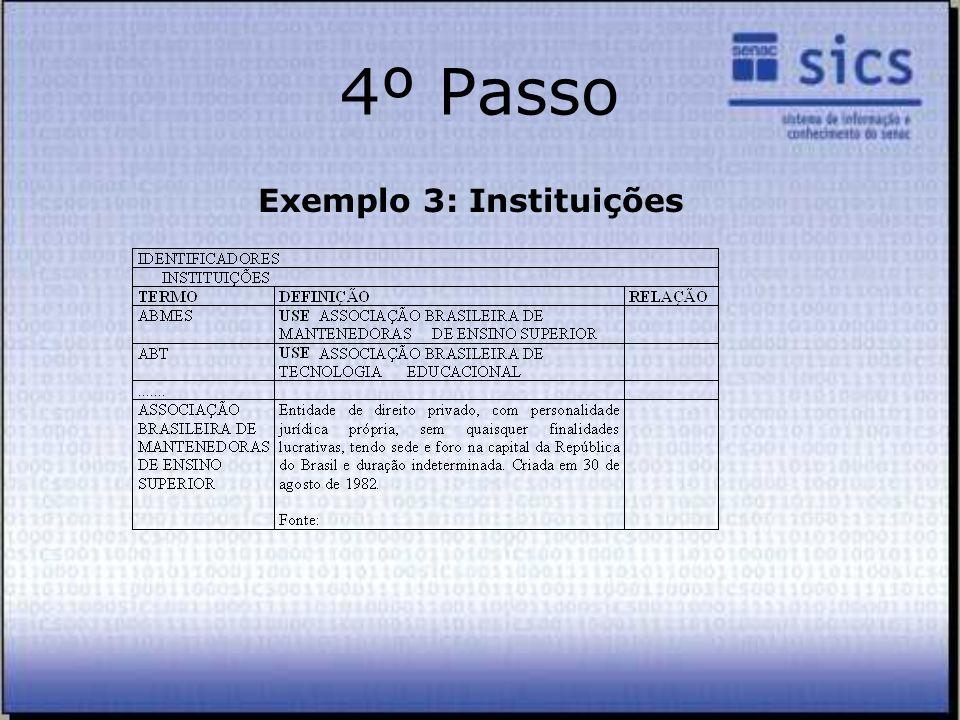 4º Passo Exemplo 3: Instituições