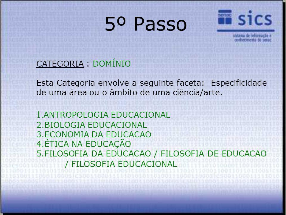 5º Passo CATEGORIA : DOMÍNIO Esta Categoria envolve a seguinte faceta: Especificidade de uma área ou o âmbito de uma ciência/arte. 1. ANTROPOLOGIA EDU