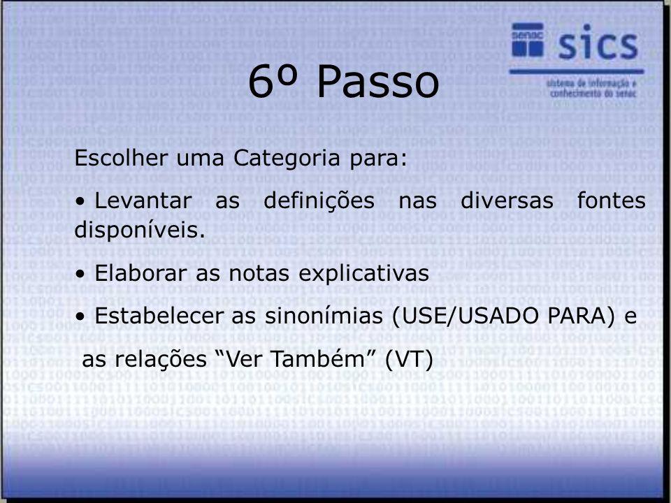 Escolher uma Categoria para: Levantar as definições nas diversas fontes disponíveis. Elaborar as notas explicativas Estabelecer as sinonímias (USE/USA